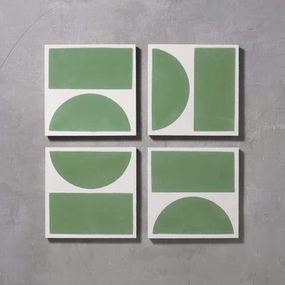 Green Split Shift Two Tiles - Handmade