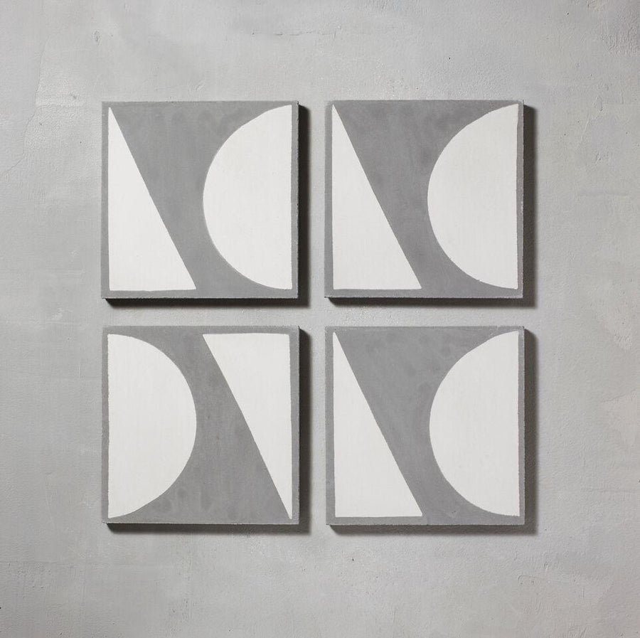 Grey Split Shift Three Tiles - Handmade