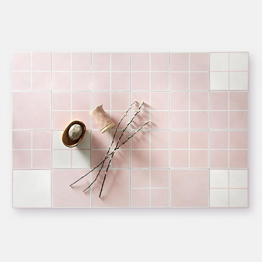 Grid 01 Blush Tile Tiles - Handmade