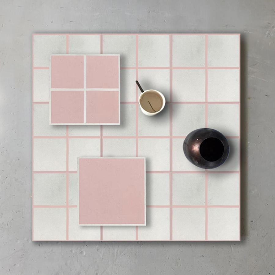 Grid 04 Blush Tile Tiles - Handmade