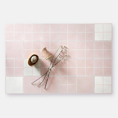 Grid Line Blush Tile Tiles - Handmade