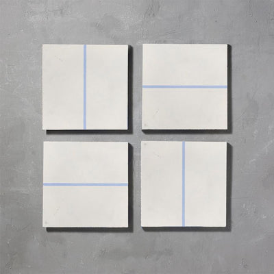 Grid line Inverse Lake Tile Tiles - Handmade