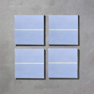 Grid line Lake Tile Tiles - Handmade