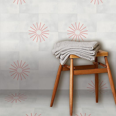 Inverse Cherry Spokes Tile Tiles - Handmade