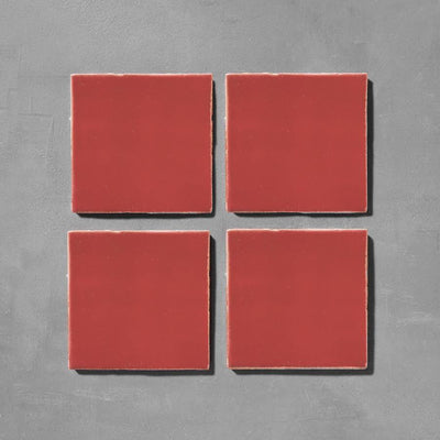 Lobster Red Glazed Square Tile Tiles - Glazed