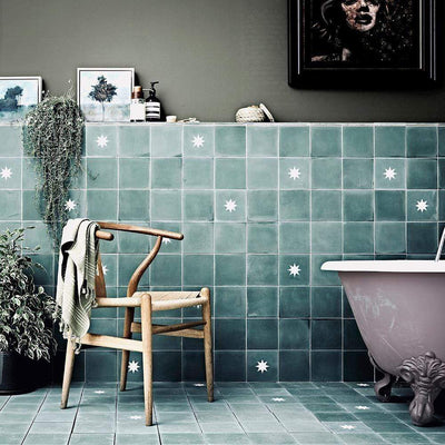 Luna Fennel Tile Tiles - Handmade