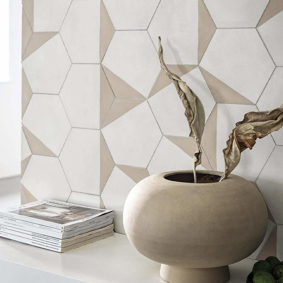Pearl + Brighton stone Hexagonal Split Tiles - Handmade