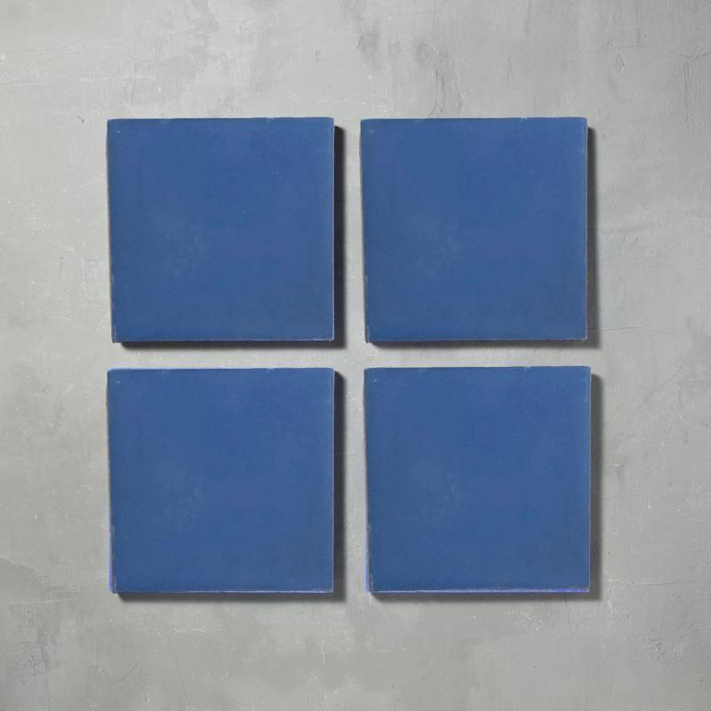 Petrol Plain Tile Tiles - Handmade