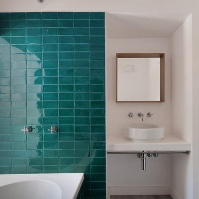 Teal Glazed Rectangle Tile Tiles - Glazed