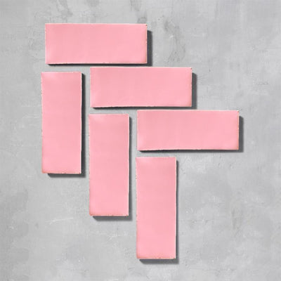 Shrimp Pink Glazed Rectangle Tile Tiles - Glazed