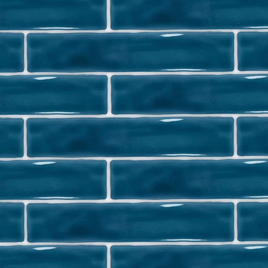 Skinny Ocean Blue Metro Tile Tiles - Glazed