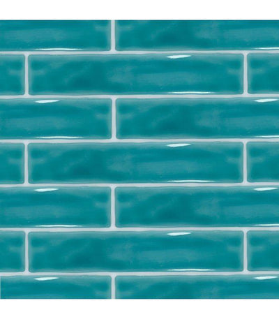 Skinny Teal Blue Metro Tile Tiles - Glazed