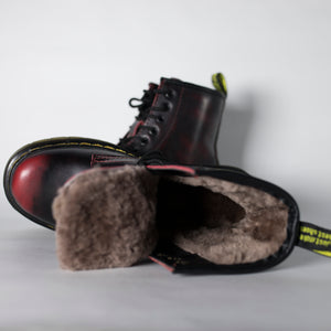 Dr. Martens fur black bourdeux - Game Over Shop