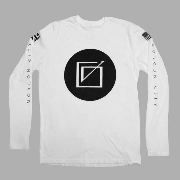 GORGON CITY LOGO LONGSLEEVE WHITE T-SHIRT