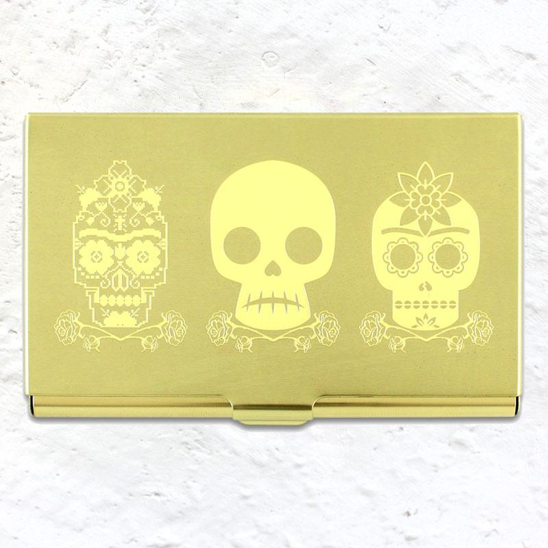 3 Skulls etched card case (based on an image by Frida Kahlo)
