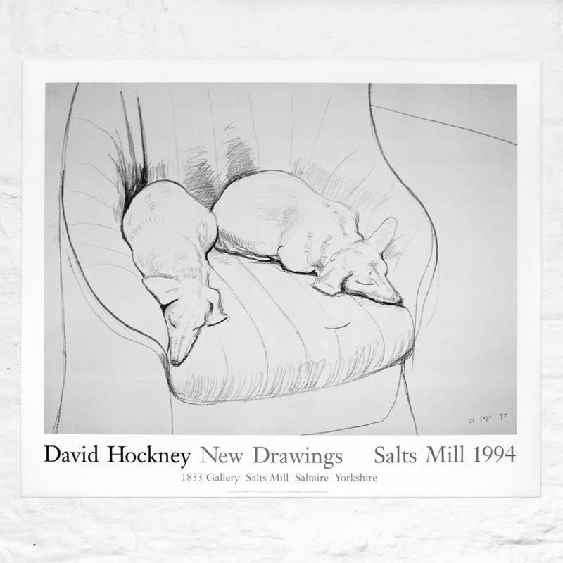 Black and White Dogs 1994 Exhibition Poster by David Hockney