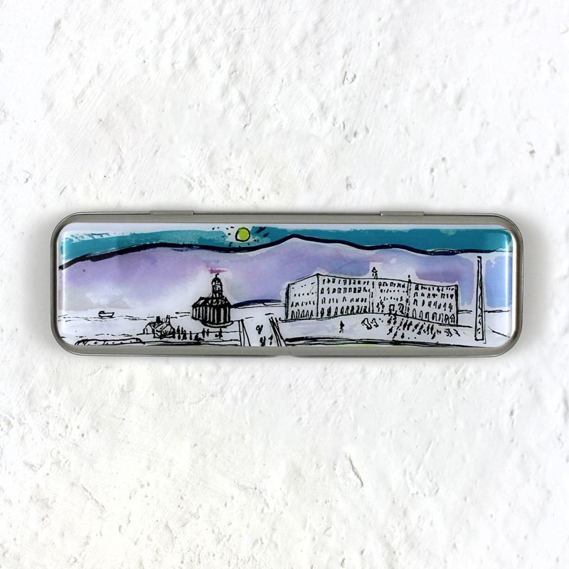 Blue Skies in Saltaire pencil tin by Kitty North