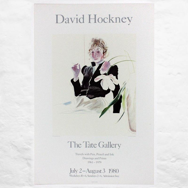 Celia in a Black Dress With White Flowers 1972 poster by David Hockney (Tate Gallery 1980) - small print run on heavy paper stock