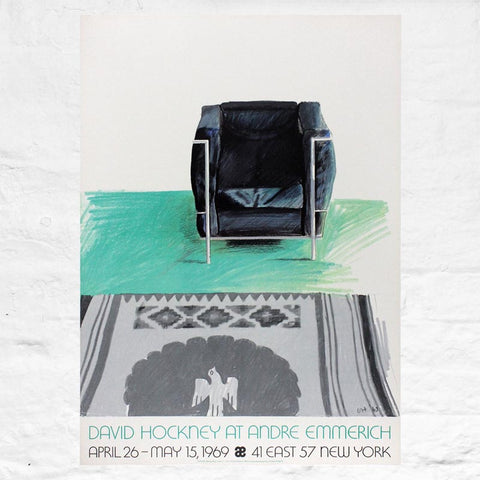 Corbusier Chair and Rug poster by David Hockney (Andre Emmerich Gallery, New York, 1969)