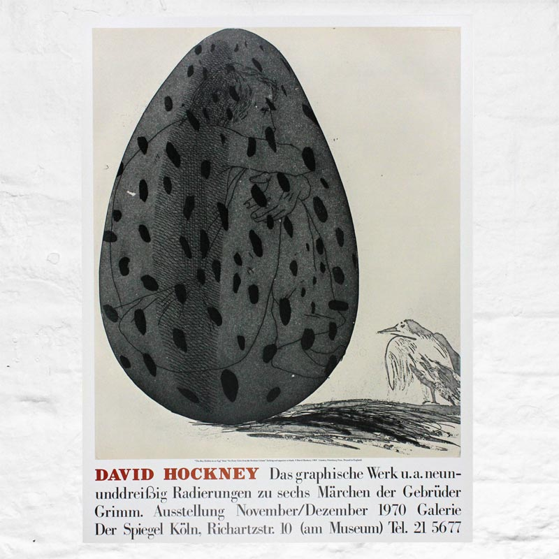 Boy Hidden in an Egg poster by David Hockney (Galerie Der Speigel, 1970)