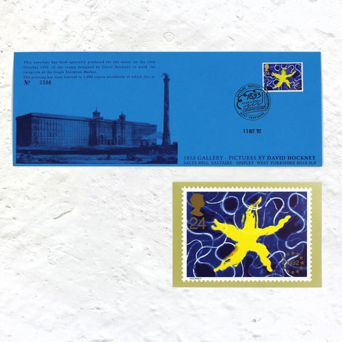 EU Single Market Stamp / First Day Cover (13 October 1992) by David Hockney