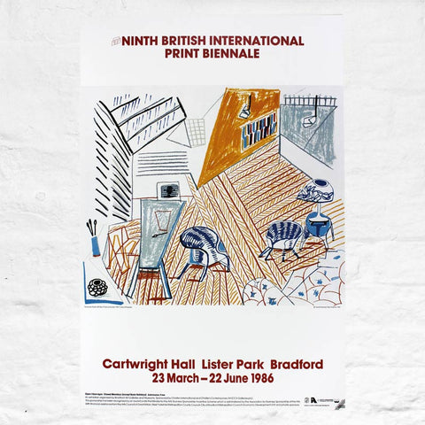 Pembroke Studio Poster for the Ninth British International Print Biennale 1986 by David Hockney
