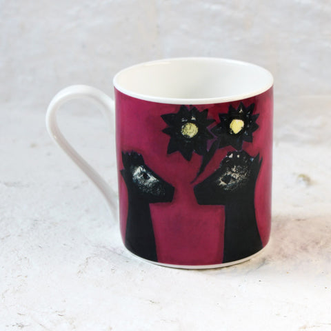 Pink Alpacas mug by Kitty North