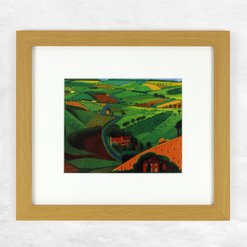 Road Across The Wolds (Mini Framed) print by David Hockney