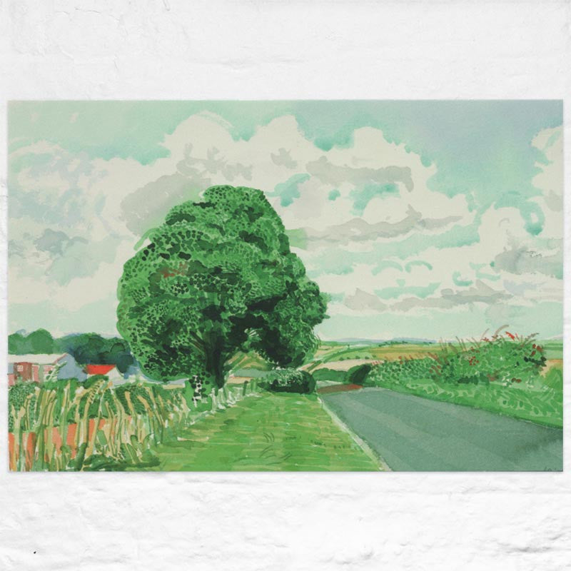 Road and Tree Near Wetwang ( from Midsummer: East Yorkshire) Poster by David Hockney