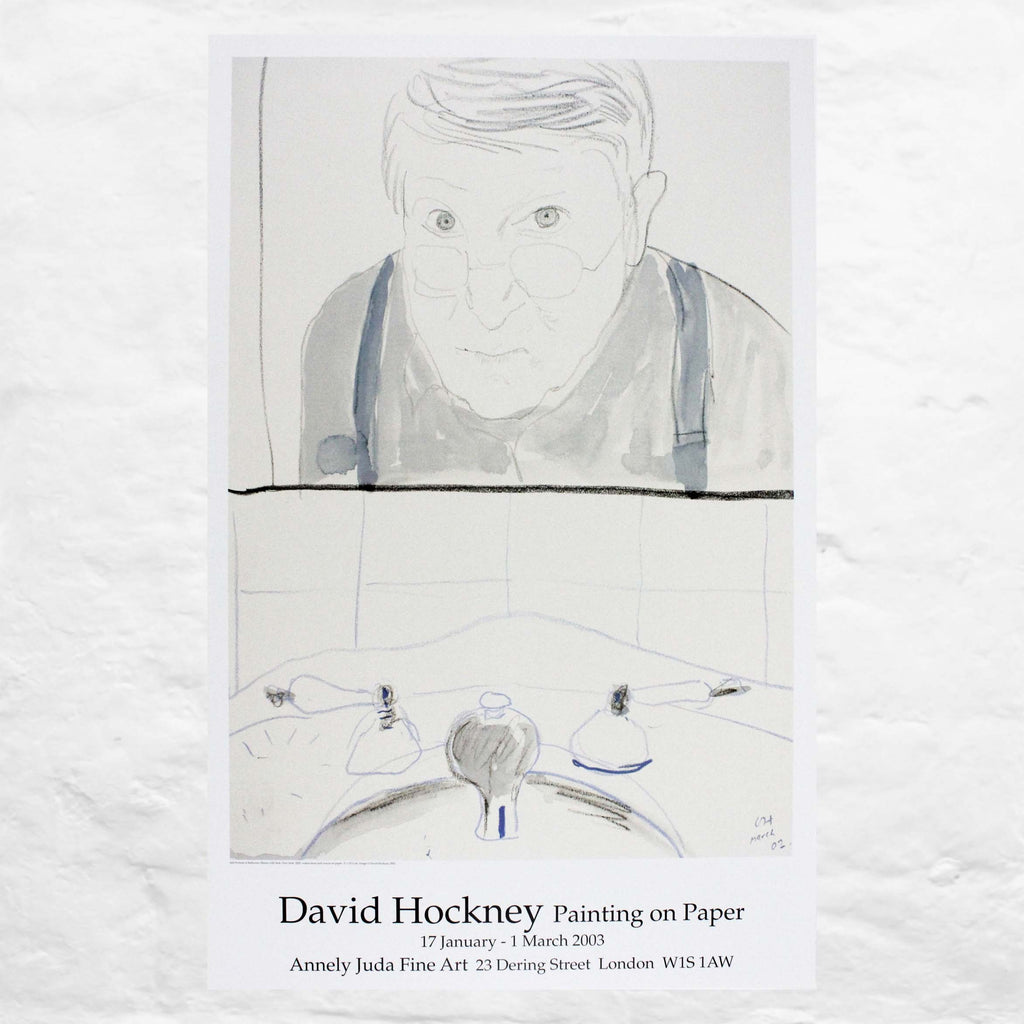 Self Portrait in Bathroom Mirror by David Hockney (Painting on Paper, Annely Juda Fine Art, London, 2003)