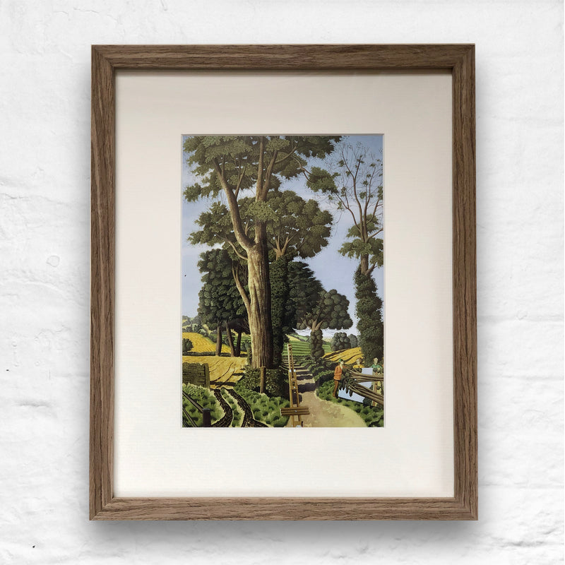 Struggling with a Huge Canvas by Simon Palmer - small framed print