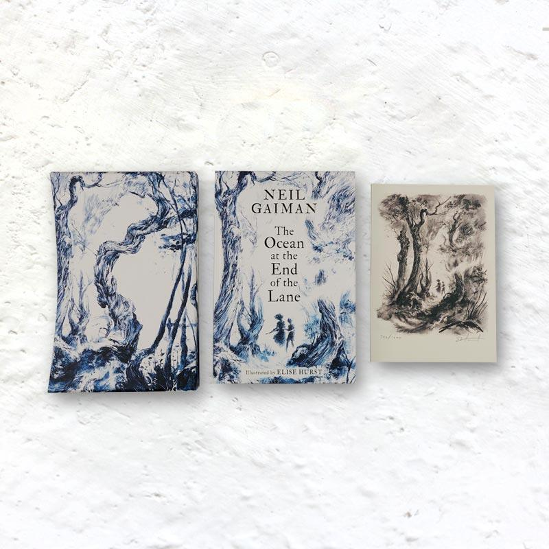 The Ocean at the End of The Lane by Neil Gaiman, illustrated by Elise Hurst - deluxe numbered limited edition with slipcase, ribbon & art print signed by Gaiman & Hurst