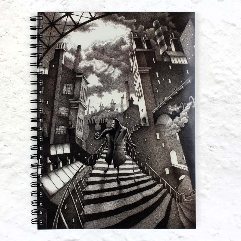 Titus Descends A4 spiral notebook by Nick Tankard