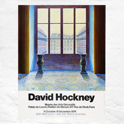 Two Vases in the Louvre poster by David Hockney (Musee des Arts Decoratifs, Paris, 1974)