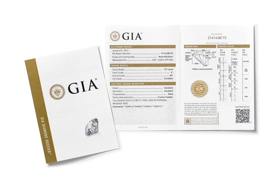 Certified diamond earrings with GIA Diamond Dossier