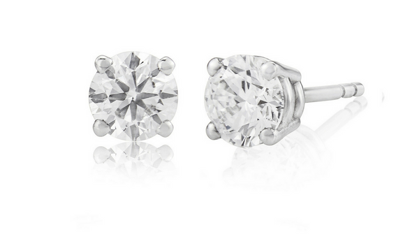 1.00 ct GIA graded D, VS1 round cut diamond studs