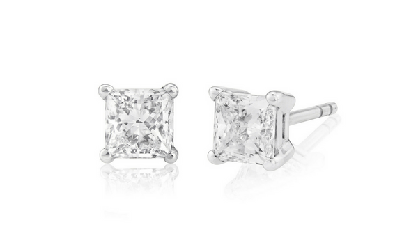 1.00 carat GIA graded D, VVS princess cut diamond earrings