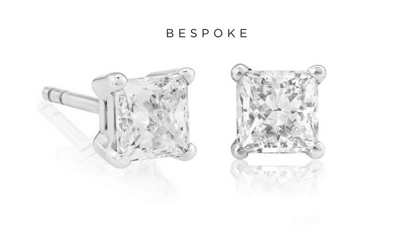 Bespoke Princess Cut Diamond Studs 1.44ct 18K White Gold