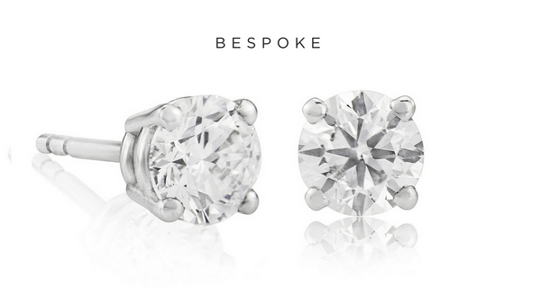 Bespoke Round Cut Diamond Studs 1.20ct 18K White Gold