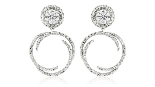 Diamond drop earring jackets with 1 carat solitaire diamond earrings