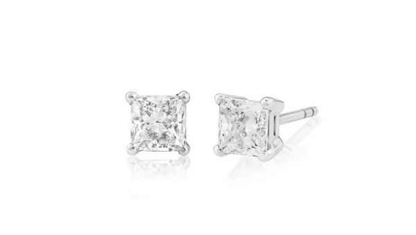 Princess cut diamond earrings 0.50 carat GIA graded D, VS1
