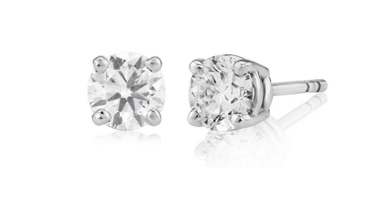 Round solitaire diamond earrings, certified diamonds, 0.80ct