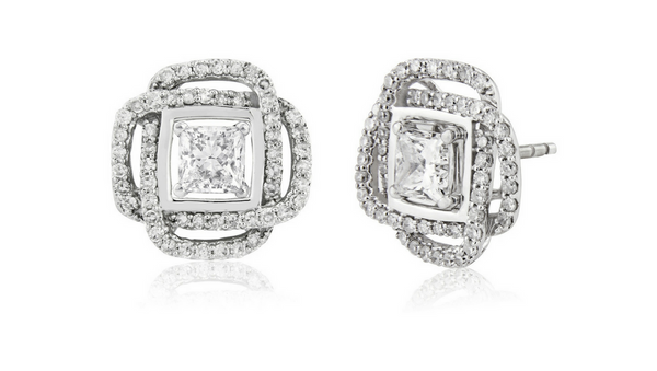 Square diamond earring jackets with 1 carat solitaire diamond earrings