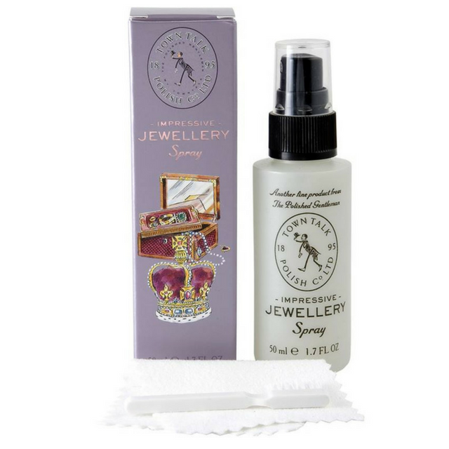 Town Talk Polish impressive jewellery sparkle spray, microfibre polishing cloth and tongs