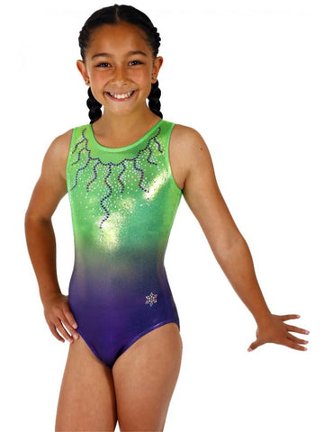 Snowflake Designs Big Time Ombre Lime/Purple Gymnastics Leotard