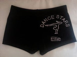 Dance Stars Gymnastics Personalised Black Velvet Club Shorts