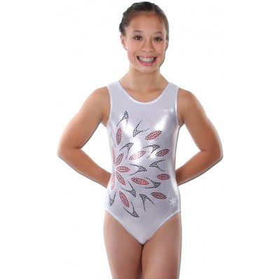 Snowflake Designs Flash Silver Gymnastics Leotard