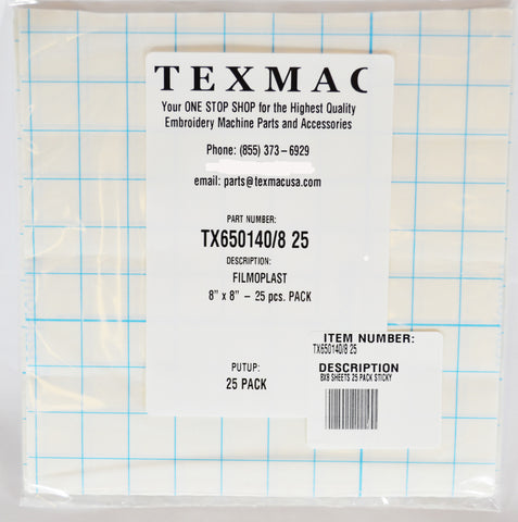 "White Adhesive Tearaway Backing 8"" Sheets 25 PK"