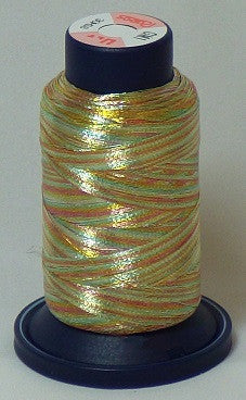 RAPOS-GM1 Variegated Multi-Color – Gold, Green and Rust Metallized Embroidery Thread Cone – 800 Meters