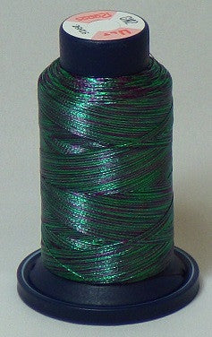RAPOS-GM2 Variegated Multi-Color – Dark Green and Purple Metallized Embroidery Thread Cone – 800 Meters